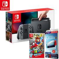 任天堂 Nintendo Switch 主機 灰+超級瑪利歐奧德賽+保護貼