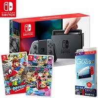 任天堂 Nintendo Switch 主機 灰+超級瑪利歐奧德賽+瑪利歐賽車8豪華版+保護貼