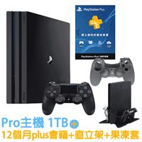 SONY PS4 Pro 7117 1TB-極致黑+12月Plus會籍專+雙用直立架-黑slim-pro+手把果凍套-黑