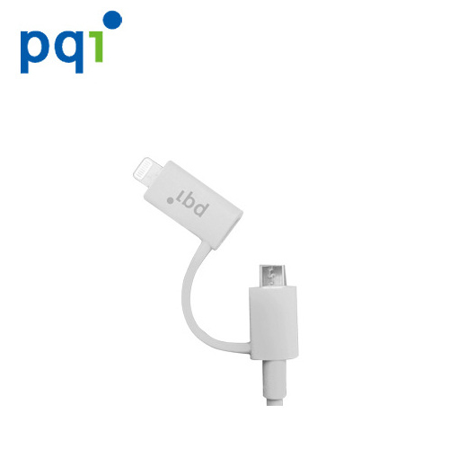PQI (Lightning+micro)認證線雙介面充電傳輸線 90cm白色