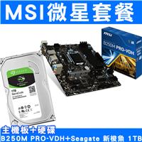 【升級套餐】MSI微星 B250M PRO-VDH+Seagate 新梭魚1TB