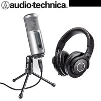 audio-technica 心型指向性電容式USB麥克風 ATR2500USB + 專業型監聽耳機 ATHM40x