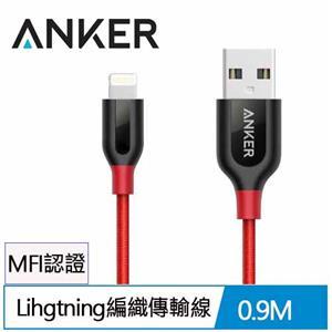 ANKER PowerLine+ Lihgtning MFI 編織充電線0.9M(紅)