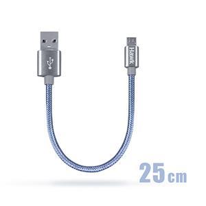 Hawk鋁合金Micro USB充電傳輸線-25CM(灰)