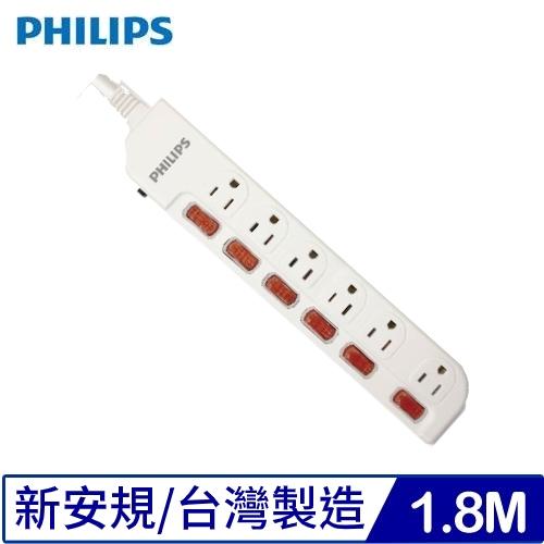 PHILIPS SPB2661WA/96六開六插延長線1.8M 6呎白(新安規)