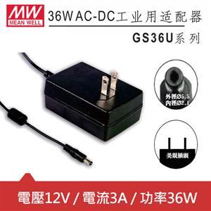 MW明緯 GS36U12-P1J 12V國際電壓插牆型變壓器 (36W)