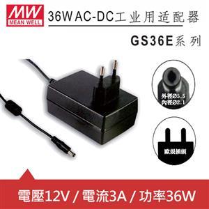 MW明緯 GS36E12-P1J 12V國際電壓插牆型變壓器 (36W)