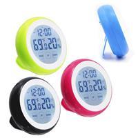 彰唯 觸控式電子鬧鐘+溫濕度+時間顯示 (黑/藍/綠/桃,4色隨機出貨) C-3305B