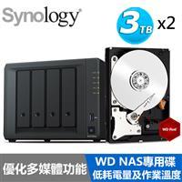 【超值組】Synology DS418PLAY 搭WD 紅標 3T NAS碟x2