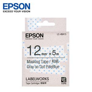 EPSON 和紙標籤帶 粉藍底透明點灰字 12mm LC-4BA15
