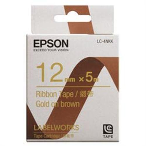 EPSON 緞帶標籤帶 咖啡底金字 12mm LC-4NKK