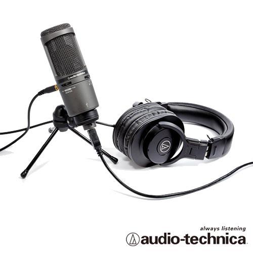 audio-technica 靜電型電容式麥克風AT2020USB+加專業型監聽耳機 ATHM30x