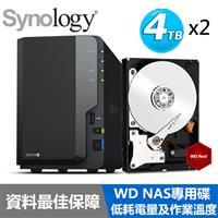 【超值組】Synology DS218+ 搭 WD 紅標  NAS碟 4TB*2