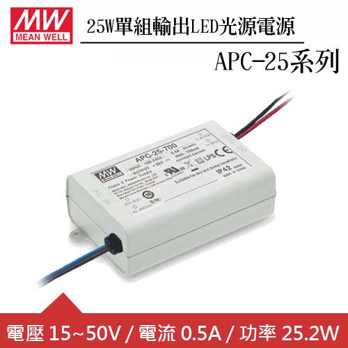 MW明緯 APC-25-500 單組0.5A輸出LED光源電源供應器(25W)