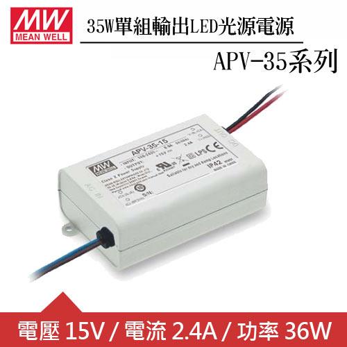 MW明緯 APV-35-15 單組15V輸出LED光源電源供應器(36W)