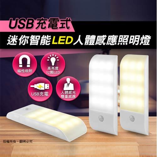 USB充電式 迷你智能LED人體感應照明燈(LI-10)-冷白光
