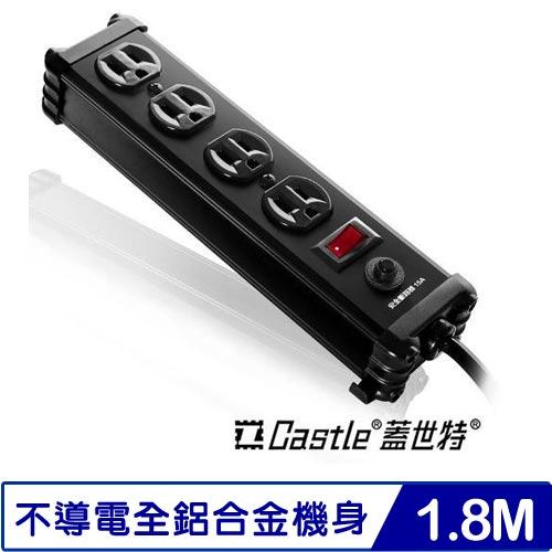 Castle蓋世特 IA4-SB 鋁合金電源突波保護插座 1開4插 尊爵黑 6呎 1.8米