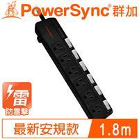 PowerSync 群加 TPS366BN0018 6開6插斜面開關防雷擊延長線 1.8M 6呎 黑
