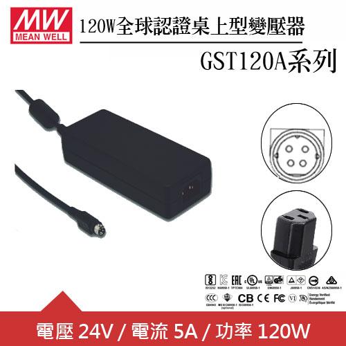 MW明緯 GST120A24-R7B 24V全球認證桌上型變壓器 (120W)