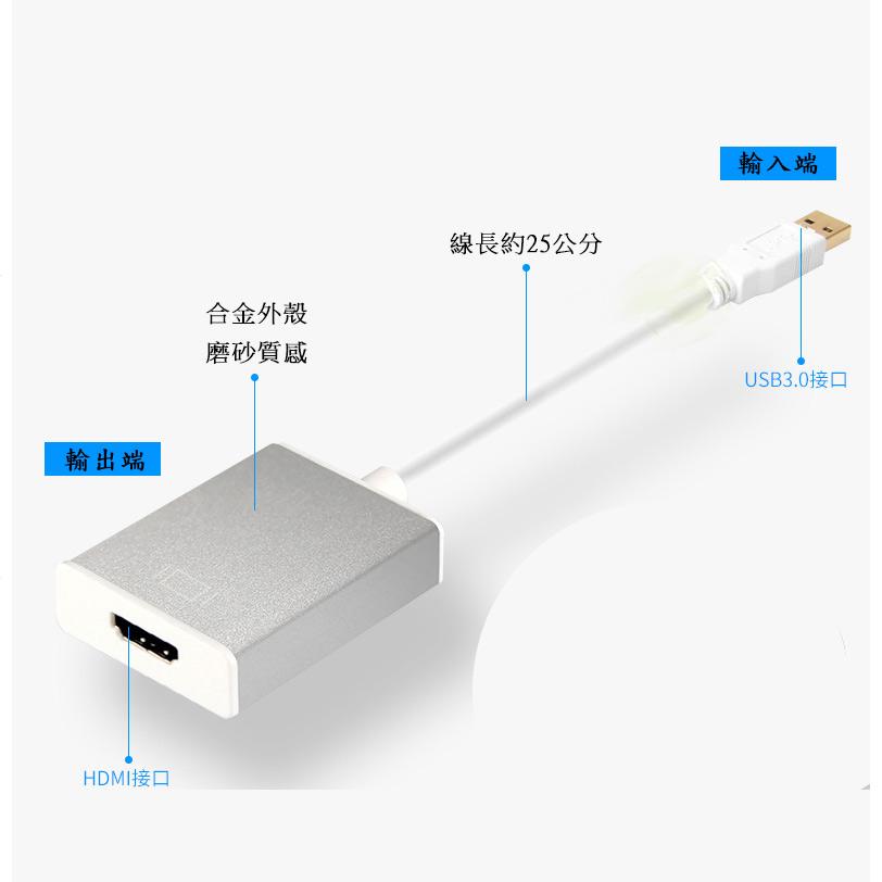 外接式 顯示擴充卡 USB3.0 轉 HDMI 影像轉換器 25公分