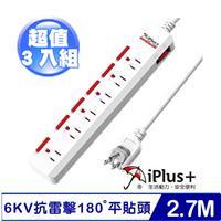 【三入裝】iPlus PU-3163 1開6插 3P旋轉插頭及內建安全防塵套