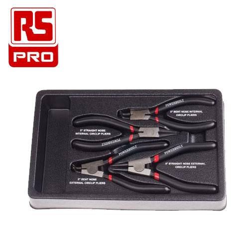 RS PRO 鉻鎳高碳鋼卡簧鉗 4件組
