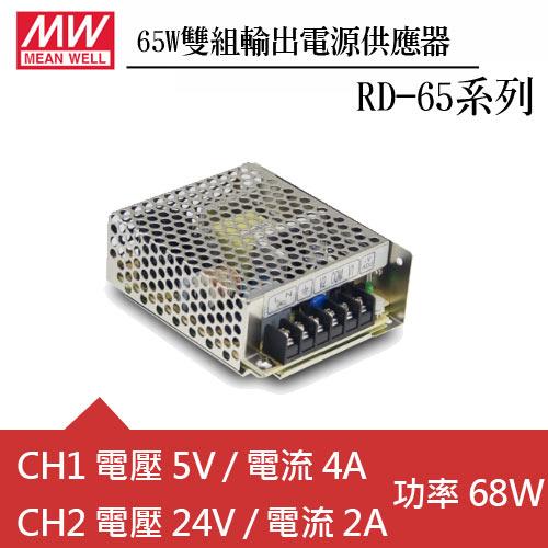 MW明緯 RD-65B 雙輸出機殼型交換式電源供應器 (65W)