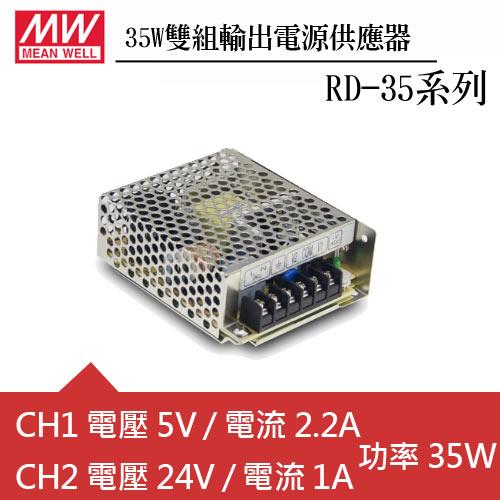 MW明緯 RD-35B 雙輸出機殼型交換式電源供應器 (35W)