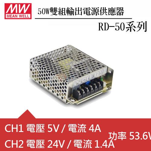 MW明緯RD-50B 雙輸出機殼型交換式電源供應器 (50W)