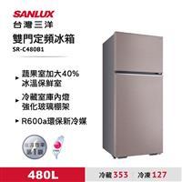 台灣三洋480L雙門電冰箱銀  SR-C480B1