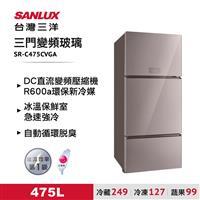 台灣三洋475L三門玻璃變頻冰箱粉  SR-C475CVGA
