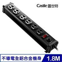 Castle蓋世特  IA6-SB 鋁合金電源突波保護插座 3孔/1開6插尊爵黑 6呎 1.8米