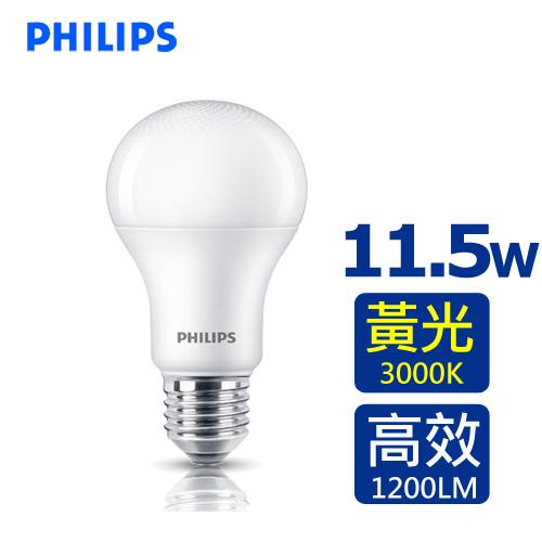 PHILIPS 飛利浦 11.5W LED廣角燈泡-黃光