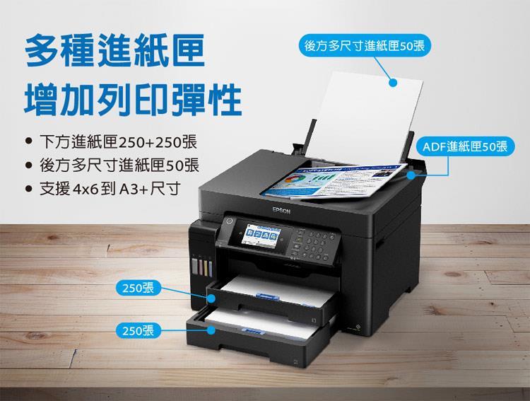 EPSON L15160多種進紙匣,下方進紙匣250 250張,後方多尺寸進紙匣50張,ADF進紙匣50張,支援4*6到A3尺寸