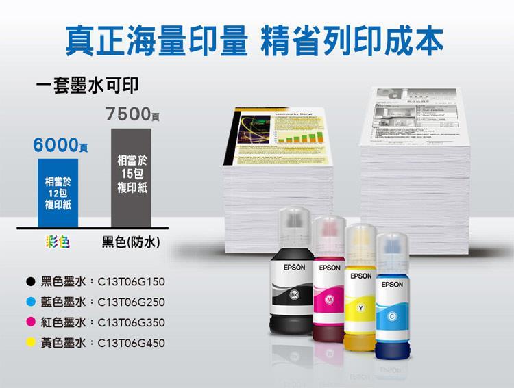 EPSON L15160真正海量印量,一套墨水可印6000頁彩色,7500頁黑色