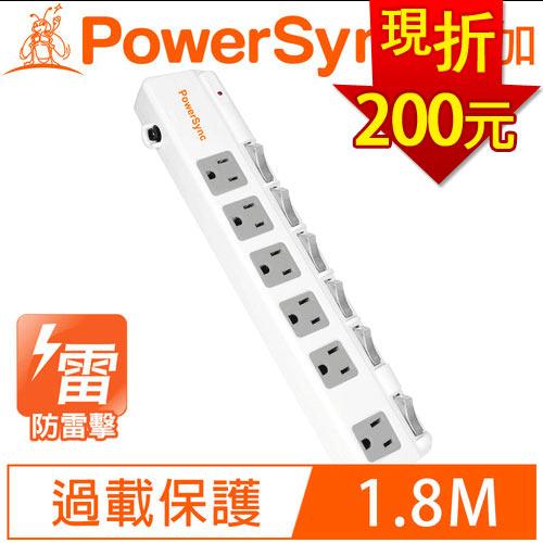 PowerSync群加 6開6插斜面開關防雷擊抗搖擺加距延長線1.8M TPS366BN9018