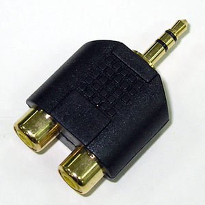 3.5立體公-->RCA母X2 鍍金轉換頭