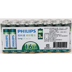 PHILIPS 飛利浦 碳鋅4號電池16入 熱縮