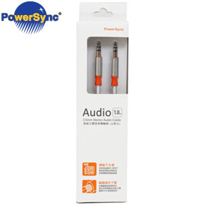 PowerSync群加 3.5mm立體音源線(公對公) 1.8 銀白  35-ERMM189