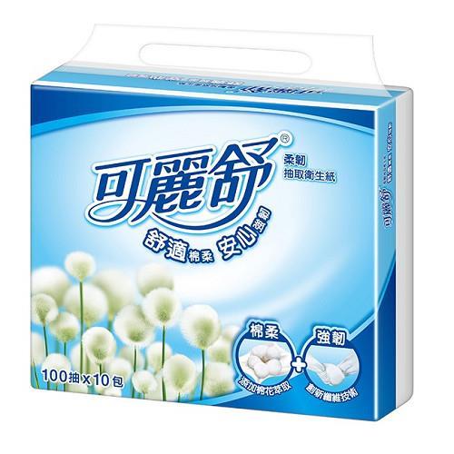 【量販組】可麗舒柔韌抽取衛生紙-100抽 (10包x4串)