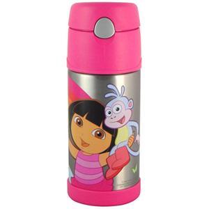 THERMOS膳魔師【370ml】《朵拉》桃紅色不鏽鋼保冷瓶 (附吸管背帶) F4008DR6