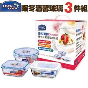 Lock & Lock 樂扣樂扣 暖冬溫馨玻璃保鮮盒3件組 正方形/長方形/圓形