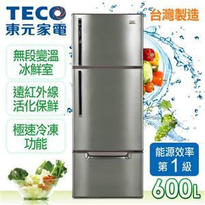 TECO東元【600L】變頻三門冰箱(R6061VXH)-古銅鑽