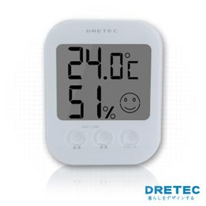 【日本DRETEC】電子式五臉型溫溼度計-白