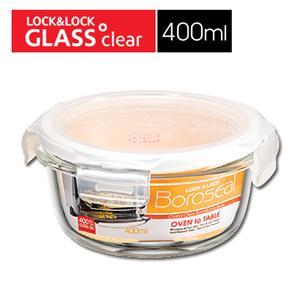 樂扣樂扣第三代玻璃保鮮盒400ML緹花上蓋-圓形