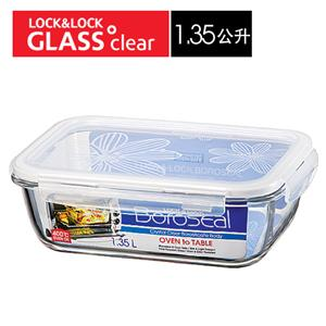 樂扣樂扣第三代玻璃保鮮盒1.35ML緹花上蓋-長方形