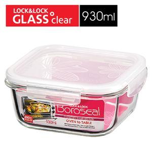 樂扣樂扣第三代玻璃保鮮盒930ML緹花上蓋-正方形