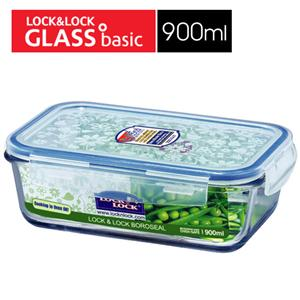 樂扣樂扣微烤兩用玻璃保鮮盒藍長方型-900ML