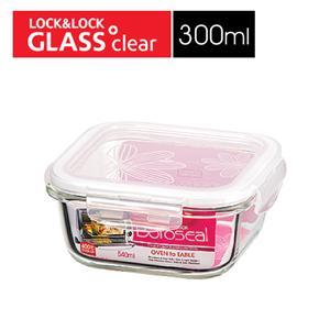 樂扣樂扣第三代玻璃保鮮盒300ML緹花上蓋-正方形