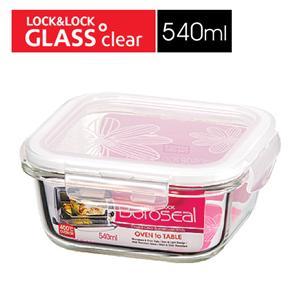 樂扣樂扣第三代玻璃保鮮盒540ML緹花上蓋-正方形
